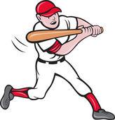 Baseball hitter batting — Vettoriale Stock