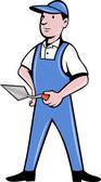 Pedreiro, pedreiro ou estucador trabalhador segurando uma colher de pedreiro — Vetorial Stock