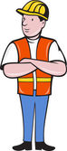 Construction worker with arms folded — Stock Vector