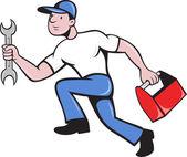 Mechanic repairman with spanner running — Stock Vector