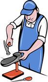 Kunduracı, Kundura ayakkabı tamir çalışma — Stok Vektör