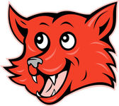 Red fox head grinning smiling — Stock Vector