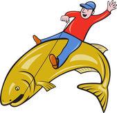 Fisherman Riding Jumping Trout Fish — Stock Vector