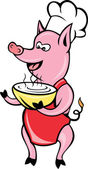 Cartoon Happy Pig chef cook baker serving soup bowl — Stock Vector
