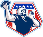 American Football Quarterback Shield — Stock Vector