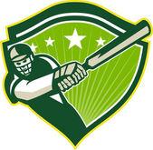 Cricket speler batsman ster crest retro — Stockvector