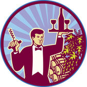 Waiter Serving Wine Glass Bottle Retro — Stock Vector