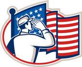 American Soldier Salute Flag Retro — Stock Vector