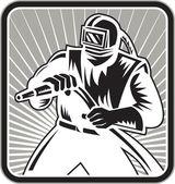 Xilografia di blaster sabbiatrice sabbia retrò — Vettoriale Stock