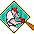 Baseball Player Batting Diamond Cartoon — Imagens vectoriais em stock