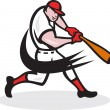 Baseball Player Batting Isolated Cartoon — Grafika wektorowa