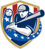 棒球击球手击球星星条纹复古 — 图库矢量图片