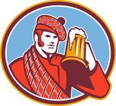Scotsman Beer Drinker Mug Retro — Stock Vector