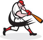 Baseball jogador rebatidas isolado dos desenhos animados — Vetorial Stock