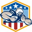 American Football Running Back Fend-Off Crest — Stok Vektör