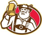 Bavarian Beer Drinker Mug Retro — Stock Vector