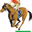 Horse Racing Equestrian Retro — Stock Vector
