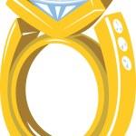 Diamond Gold Ring Retro — Stock Vector #35139997