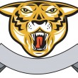 Tiger Head Growl Head Isolated — Stock Vector