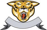 Tiger Head Growl Head Isolated — Stock Vector