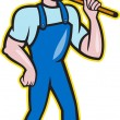 Plumber Holding Plunger Standing Cartoon — Stock Vector