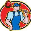 Plumber Holding Plunger Cartoon — Stock Vector