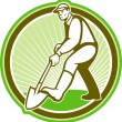 Vector de stock : Gardener Landscaper Digging Shovel Circle