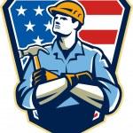 American Builder Carpenter Hammer Crest Retro — Stock Vector #35230955