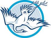 Heron Crane Diving Down Cartoon — Stock Vector
