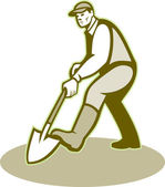 Gardener Landscaper Digging Shovel Retro — Vector de stock