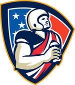 American Gridiron Quarterback Ball Crest — Stock Vector