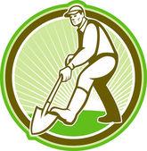 Paisajista jardinero cavando círculo pala — Vector de stock