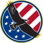 American Eagle Flying USA Flag Retro — Stock Vector