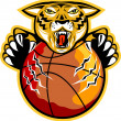 Tiger Basketball Ball Claws — Stock Vector