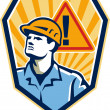 Contractor Construction Worker Caution Sign Retro — Stock Vector #36156349