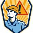 Contractor Construction Worker Caution Sign Retro — Stock Vector