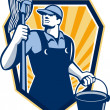 Stock Vector: Janitor Cleaner Hold Mop Bucket Shield Retro