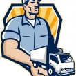 Delivery Man Handing Removal Van Crest Retro — Stock Vector