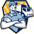 Removal Man Moving Delivery Van Crest Retro — Stock Vector #36156593