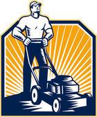 Gardener Mowing Lawn Mower Retro — Stock Vector