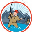 Fly Fisherman Catching Trout Fish Cartoon — Stock Vector #36620701