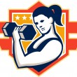 Woman Lifting Lifting Dumbbell Retro — Imagen vectorial