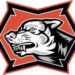 Angry Wolf Wild Dog Retro — Stock Vector
