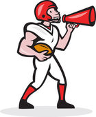 American Football Quarterback Bullhorn Isolated Cartoon — Stock Vector