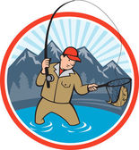 Fly Fisherman Catching Trout Fish Cartoon — Stock Vector