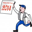 New Year 2014 Newspaper Boy Showing Sign Cartoon — Stock Vector