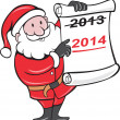 New Year 2014 Santa Claus Scroll Sign — Stock Vector