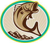 Largemouth Bass Jumping Circle — Stock Vector