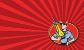 Bouw werknemer jackhammer pneumatische boren — Stockfoto