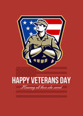 American Soldier Veterans Day Greeting Card — Stock Photo